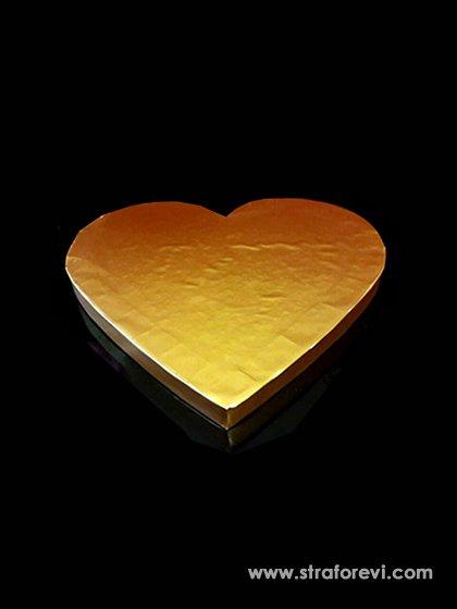 Kalp Strafor Pasta Altlığı  30cmx30cm Gold Altın