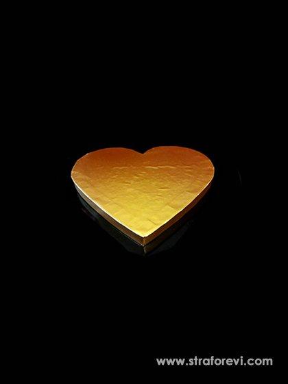 Kalp Strafor Pasta Altlığı  20cmx20cm Gold Altın