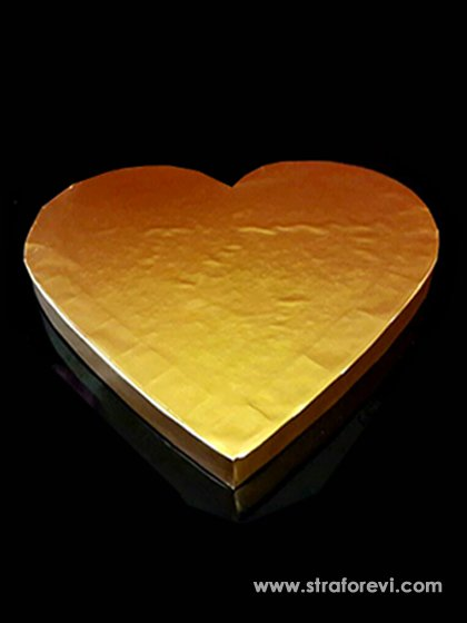 Kalp Strafor Pasta Altlığı  40cmx40cm Gold Altın