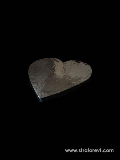 Kalp Strafor Pasta Altlığı  20cmx20cm Gümüş
