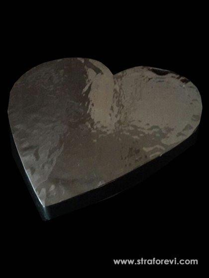 Kalp Strafor Pasta Altlığı 40cmx40cm Gümüş
