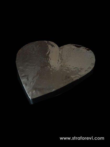 Kalp Strafor Pasta Altlığı 30cmx30cm Gümüş